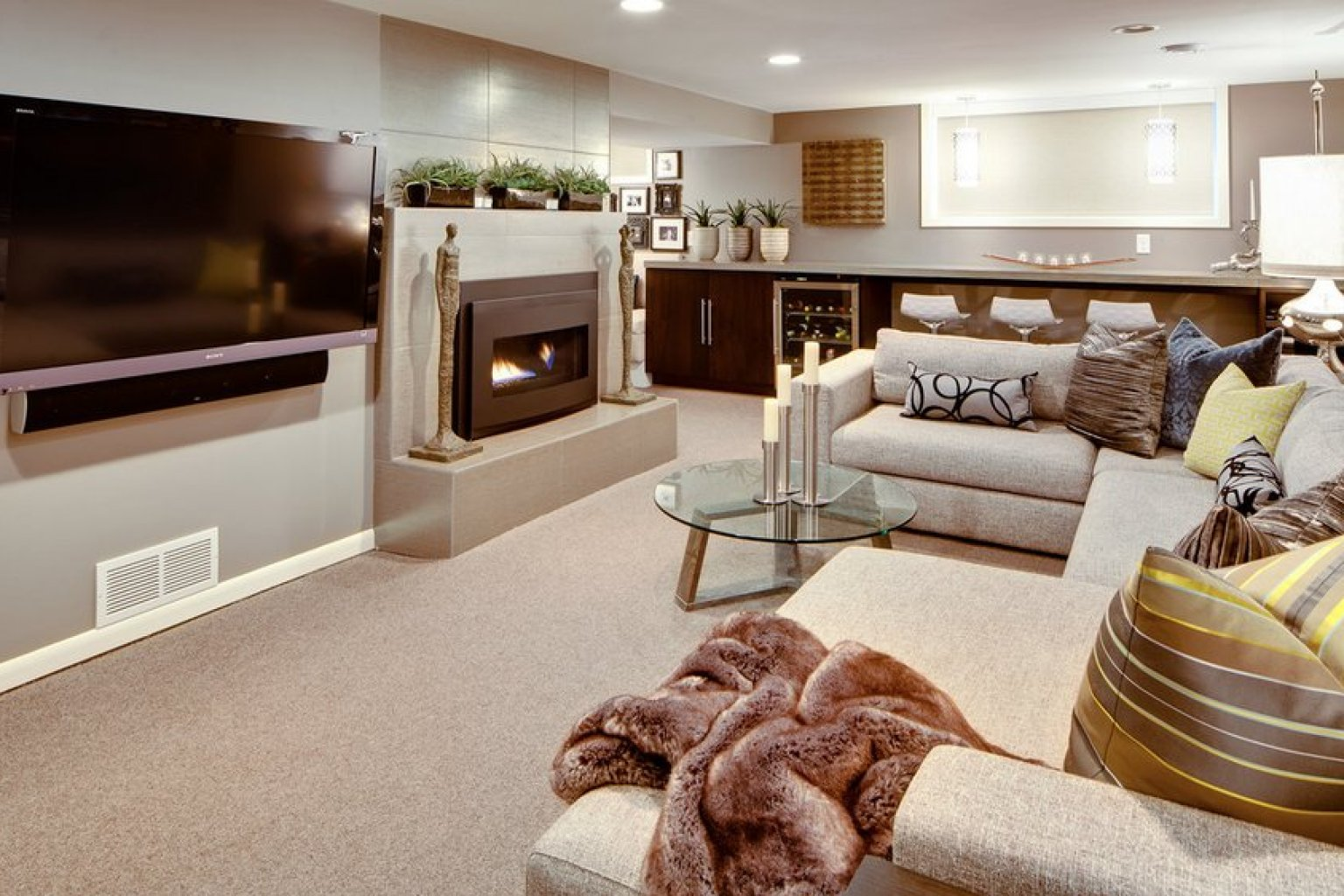 basement living room oakland