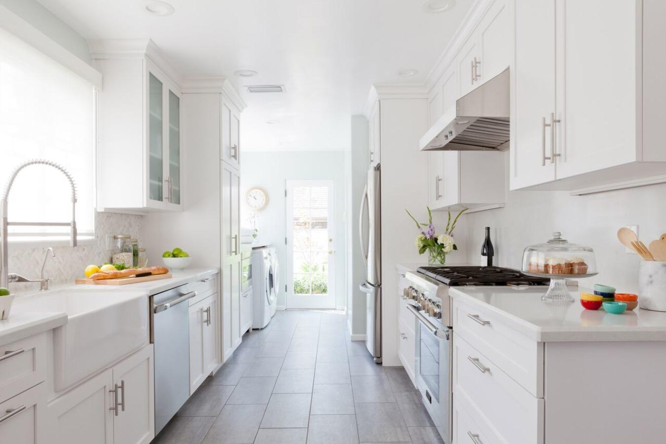 bright galley kitchen